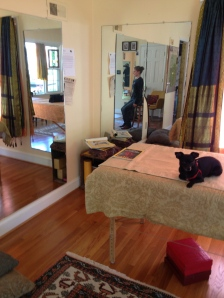 the little man, table and mirrors