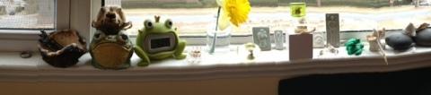 window sill in my studio is loaded w/ images & ideas